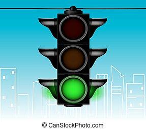 Cartoon style traffic light vector illustration.
