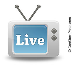 Cartoon-style TV Icon Live Stream - Cartoon-style TV Icon...