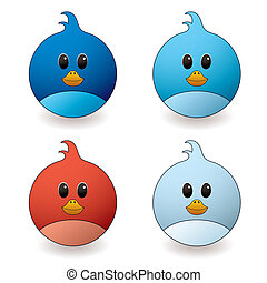 cartoon style twit bird with red and blue colour variations