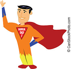 super dad - cartoon style vector for super dad on white