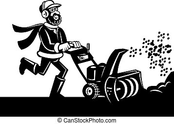 Man operating a snow blower or snow thrower done in black...