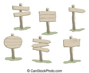 Cartoon style vector weathered wooden sign set