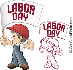 cartoon style worker in bib overall and hard hat keep flag in rased hand flag with Labor Day device. vintage style in dull color. No fonts were used.