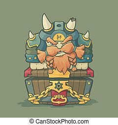 Cartoon styled dwarf sitting on the chest - Cartoon styled...