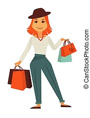 Cartoon stylish redhead female character with shopping bags