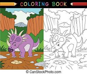 Cartoon styracosaurus coloring book