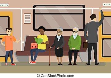 Cartoon Subway underground train car interior