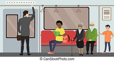 Cartoon Subway underground train car modern interior.