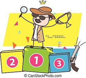 Cartoon Successful Detective with Trophy Vector Illustration