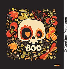 Cartoon sugar skull silhouette with heart eyes, floral ornament and multicolored flowers on black background. Day of the Dead festive decoration. Vector illustration for postcard, banner, poster.