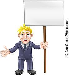 Cartoon suit man holding sign