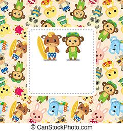 cartoon summer animal card