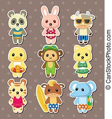 cartoon summer animal stickers