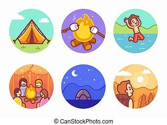 Cartoon summer camping illustration set