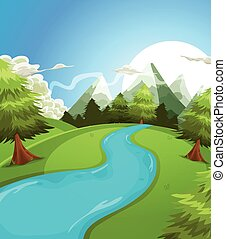 Illustration of a cartoon summer or spring high mountain landscape, with river, pine trees and firs for vacations, travel and seasonal holidays background