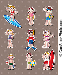 cartoon summer people stickers