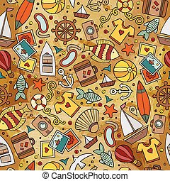 Cartoon summer time seamless pattern - Cartoon hand-drawn...