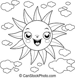 Cartoon sun and clouds. Vector black and white coloring page