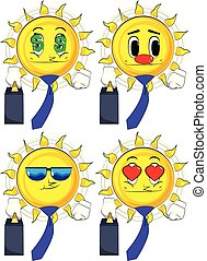 Cartoon sun boss with suitcase or bag and tie.