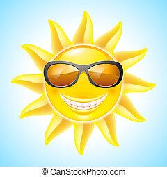 Cartoon Sun - Cartoon Smiling Sun with Sunglasses. See other...