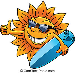 Cartoon sun character with sunglasses and surfboard