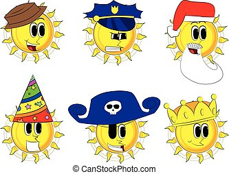 Cartoon sun collection with costume. Expressions vector set.