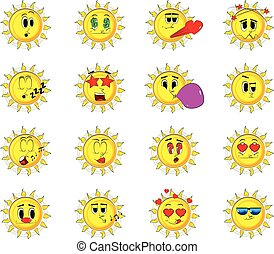 Cartoon sun collection with various facial expressions. Vector set.