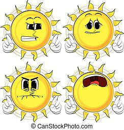 Cartoon sun crossing his fingers and wishing for good luck.
