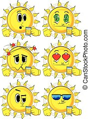 Cartoon sun drinking beer. Collection with various facial expressions. Vector set.