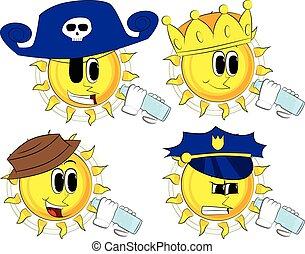 Cartoon sun drinking water from a glass bottle.