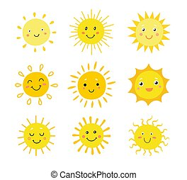 Cartoon sun faces flat icon set