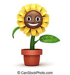 cartoon sun flower with glass