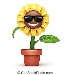 cartoon sun flower with glass