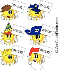 Cartoon sun holding a banner with welcome text.