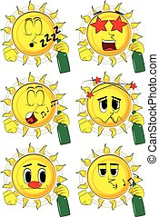 Cartoon sun holding a bottle.