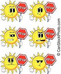 Cartoon sun holding a stop sign.