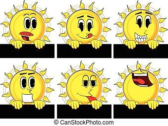 Cartoon sun holding blank black sign.