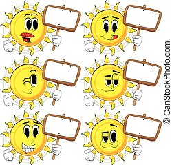 Cartoon sun holding blank sign.