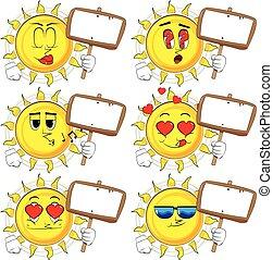 Cartoon sun holding blank sign.