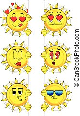 Cartoon sun holding blank sign. Collection with various facial expressions. Vector set.