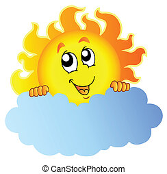 Cartoon Sun holding cloud - vector illustration.