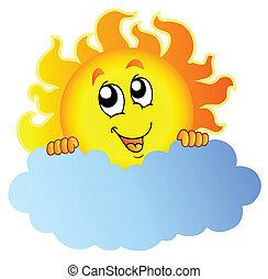 Cartoon Sun holding cloud - vector illustration.