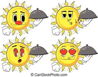 Cartoon sun holding silver cloche in hand.
