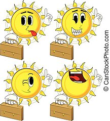 Cartoon sun holding suitcase and making a point.