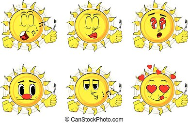 Cartoon sun holding toothbrush.