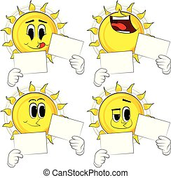 Cartoon sun holding two white paper.