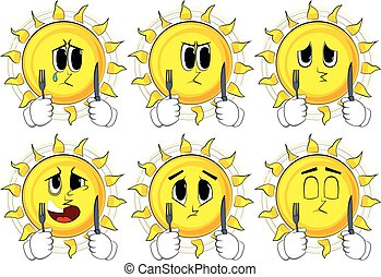 Cartoon sun holding up a knife and fork.