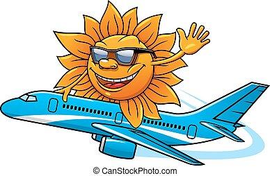 Cartoon sun in sunglasses flying on airplane