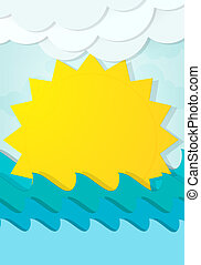 cartoon sun in the waves