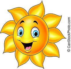 Cartoon sun isolated on white background
